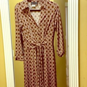 Brown and white front tie button up dress